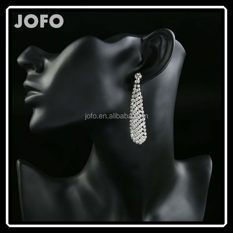 18KG Plated 2014 New Style Korean Elegant Gorgeous Sparking Rhinestone 18KGP Zircon <strong>Water</strong> Drop Dangle Earrings For Lady