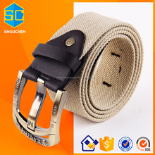 Fashion Golden alloy buckle leather canvas belt material for mens