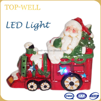 Festival promotion gift, Christmas ceramic train wtih LED for kids