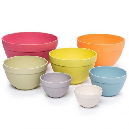 Pastel <strong>Natural</strong> Bamboo Fiber Nesting Salad Bowls Set of 7pcs