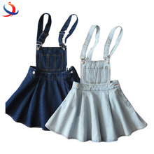 New Arrival Wholesale Casual Backless Strappy Bandage Blue Denim Dress For Young Ladies