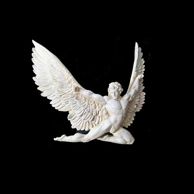 Customized size copper stone marble material angel with wing relief art statue sculpture