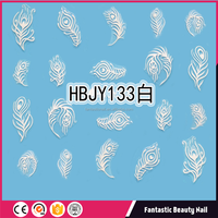 2018 new arrivals Hot sale High quality and pretty colourful feather 3d nail art sticker