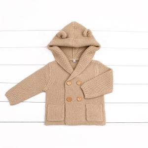 Knit Unisex Baby Bear Kids Clothing Hooded sweater Coat with ears