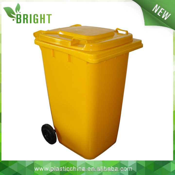 240 liter trash can wheelie dustbin yellow color outdoor plastic bin with handle