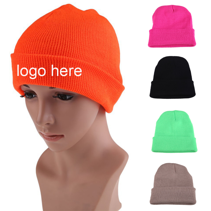 Cheap Custom Made Logo Winter Kintted Acryilc Beanie Hats