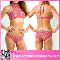 Luxury Wholesale Rosy Nude Geometric Pattern Bikini miduo swimwear