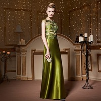 Ladies Sexy Cap Sleeve Green Embroidered Evening Dress for Party