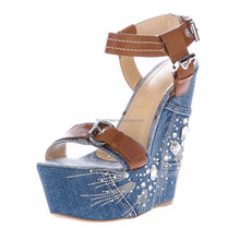 Wholesale onlymaker denim buckle strap split joint rhinestone embroided flower platform Wedges sandals