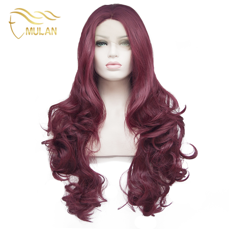 Long Red Wig Anime Synthetic Vogue Lace Front Wigs High Density Body Wavy