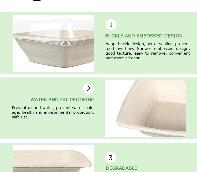 Easy Green Biodegradable 24oz Food Containers Disposable Bamboo Pulp Bowl Lid