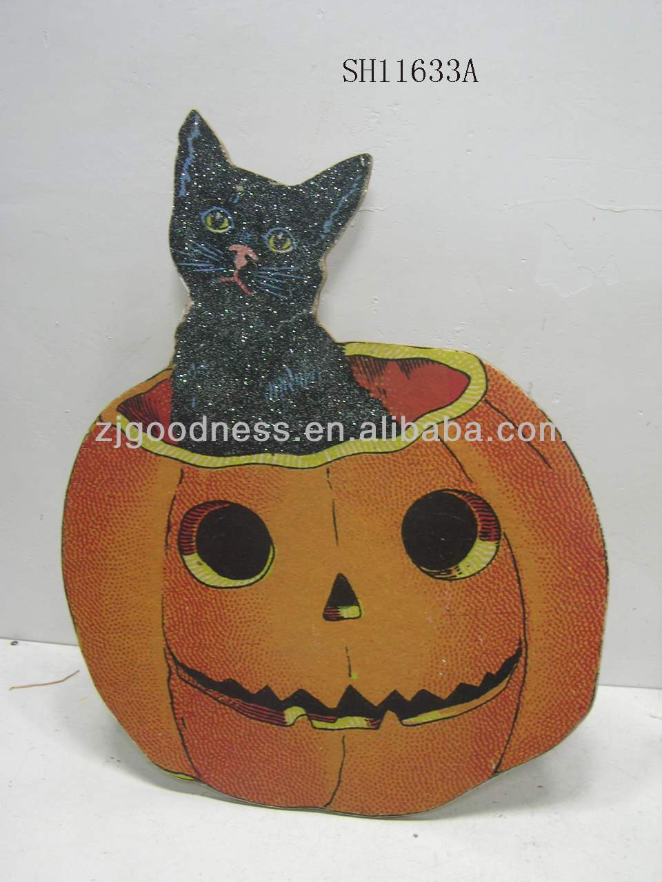 HOT SALE 23-1/2''H Halloween Decoration Cat&Pumpkin