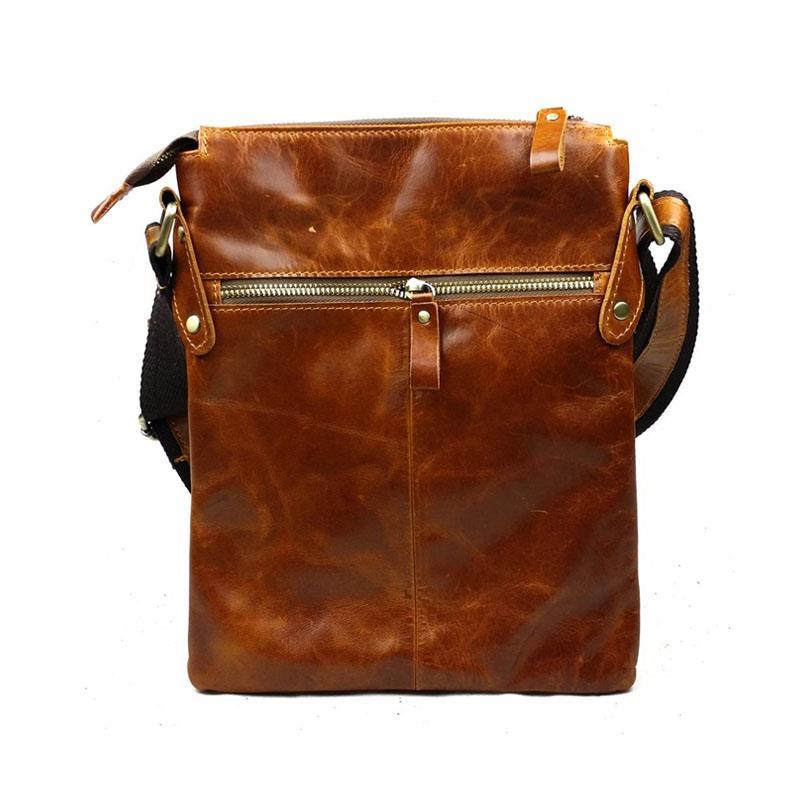 Get Quotations · New Luxury Vintage Casual 100% Top Genuine Oil Wax Leather  Cowhide Men Messenger Shoulder Bag 799eb9b359