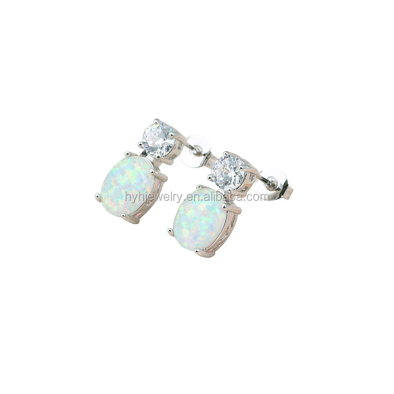 Attractive design high quality 925 silver opal white gold zircon cute earrings for girls