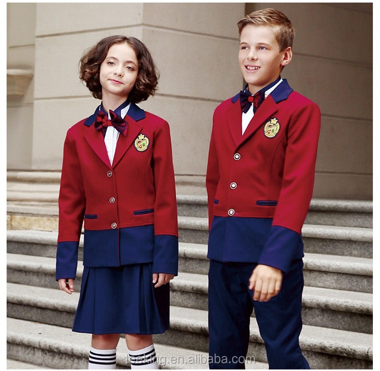 Fancy Red And Blue Contrast Color School Uniform Suit