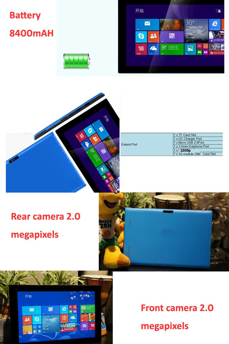 10inch 3G Intel Quad Core 2GB 64GB IPS Screen 1280x800 pixels Bluetooth tablet win 8.1