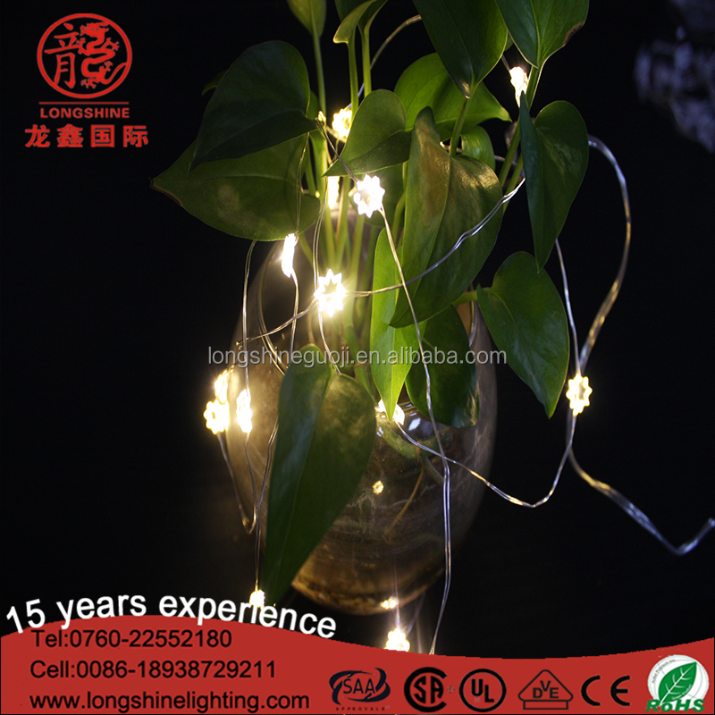 Sliver wire santa clause star shell LED copper string lights for Christmas home decoration