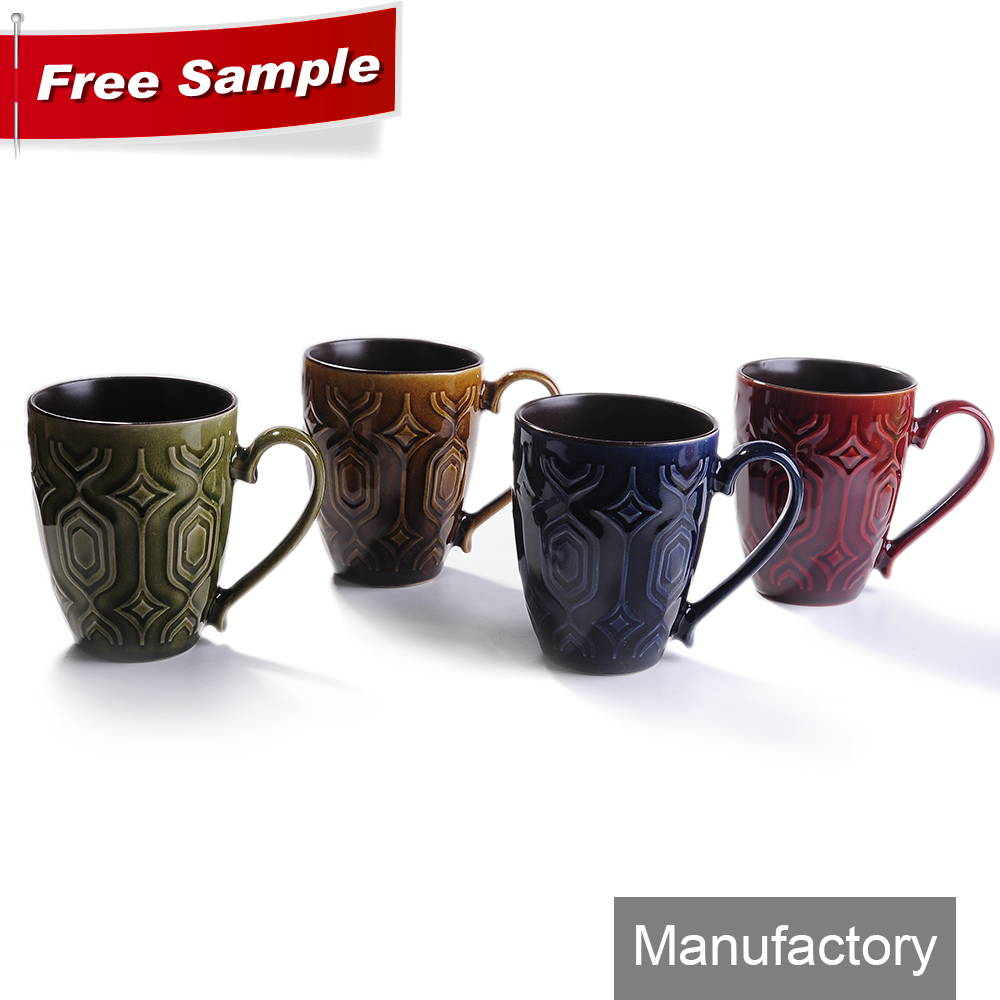 wholesale 12oz promotional black color glazed stoneware drinking mugs