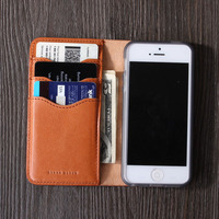Phone case for 5s leather case for apple men style for Iphone5 leather case card holder wallet DHL FREE SHIPPING
