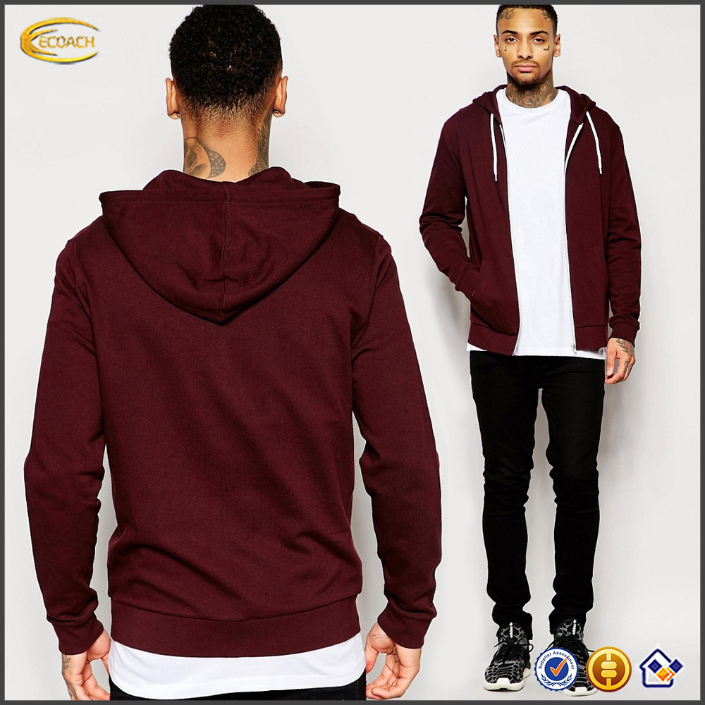 Ecoach high quality Burgundy Regular fit custom logo thin blank plain wholesale mens full zip up hoodie