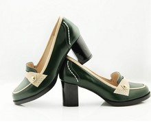 2013 New Style Ladies Fashion Thick Heels Shoes Women Elegant High Heels Dress Shoes Women Green Chunky Heels Pumps Shoes