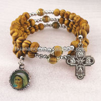 European rosary adjustable natural color religious wooden bracelets religious