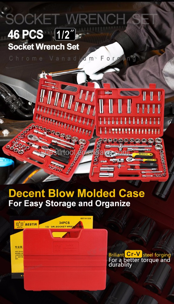 "Tool Kit : Bestir Hand Tools -- CRV 34/46 PCS 1/2"" Socket Set Tools for Sale"
