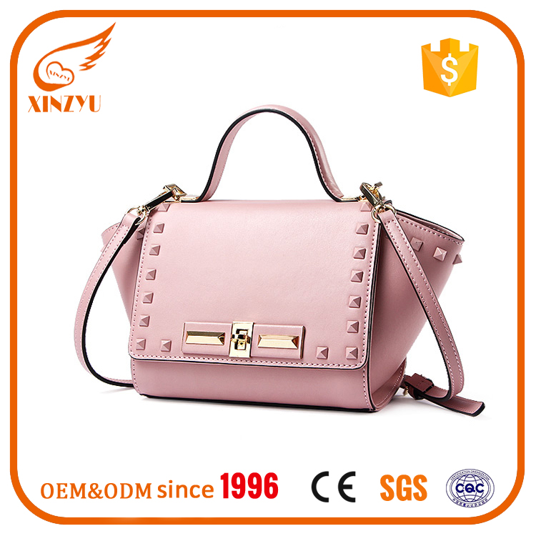 2016 fashion leather handbags ladies 100% smooth leather rivets for handbags