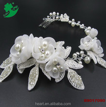Elegant fashion handmade jewelry white personalized wedding hair comb for bridal with lace flower 89017