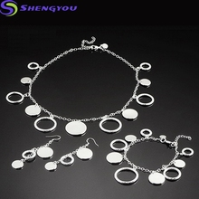 New Model 925 Silver Plated Circle Shaped Fancy Bracelet and Necklace Jewelry Set