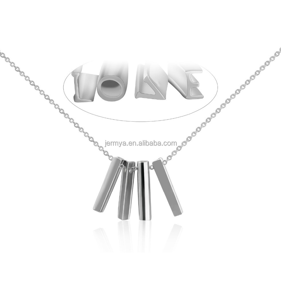 "CIShop LOVE Letter Sterling Silver Bar Pendant Necklace Short Chain Choker 18""+1.97"""