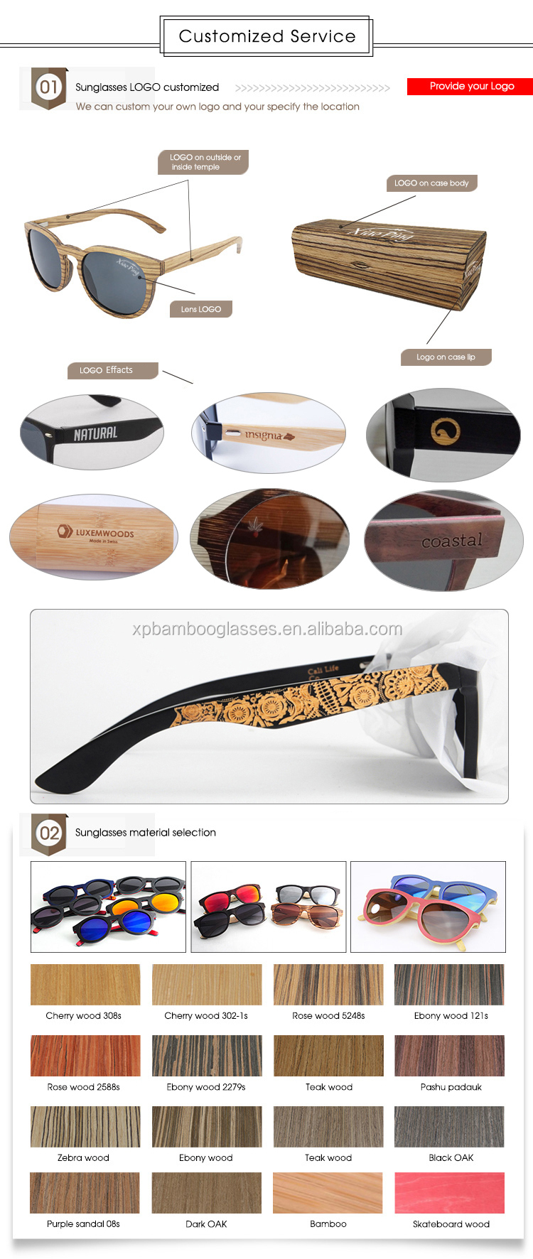 oem custom engraving wood case for glasses