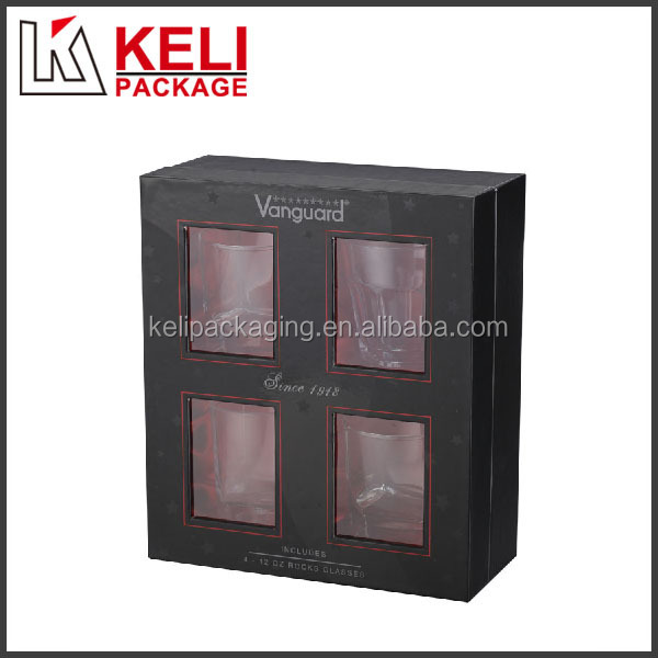 OEM design 4 PVC windows cardboard packaging box for 4 liquor glass