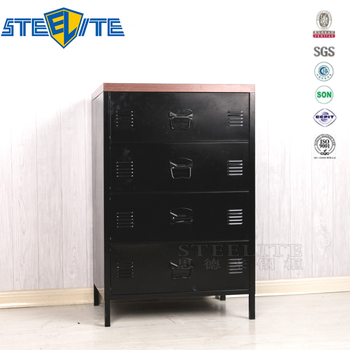 Industrial Style Chest Of Drawers Metal Cabinet For Living Room Bedroom