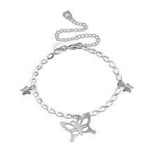 New Custom Design Fashion Bracelet for Foot Copper Sterling Silver Plated Three Butterfly Charm Pendant Anklets for Girls