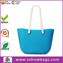 2015 New canvas rope rubber bag silicone Beach Bag with zipper