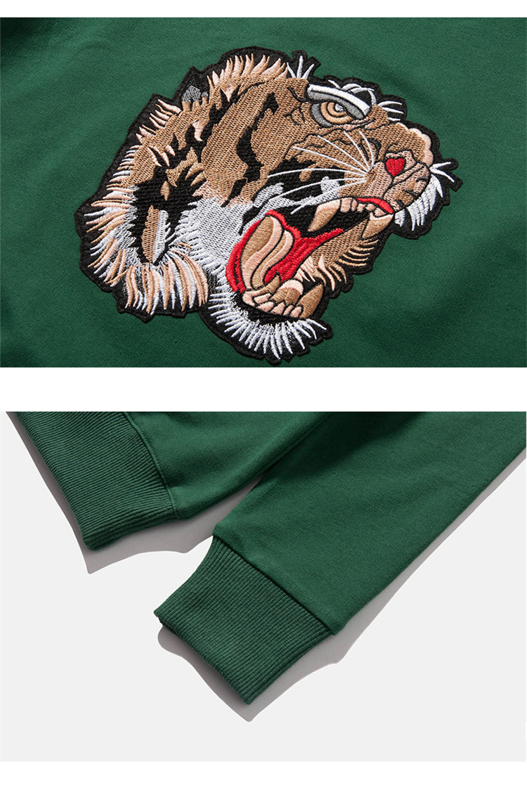 Children's sweater custom tiger head embroidery children's clothing sweater pullovers
