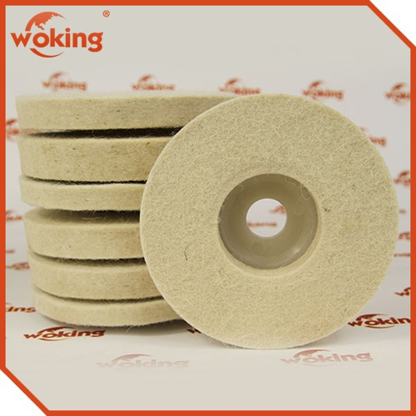 Wool felt disc for polishing stainless steel and glass