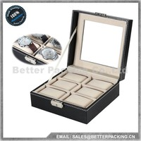 PW006T Black Luxury Custom Leather Wrist Watch Display Box with Pillows 6 Grids