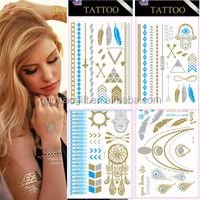 fashionable hot sale gold and silver metallic tattoo flash for women
