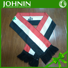 promotion custom logo print 100%polyester football Syria fan scarf