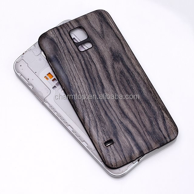 Wood Leather Hard Back Case For Samsung Galaxy S5 i9600