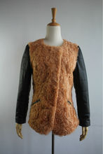 Lady's Fashion Lamb Fur Coat With Sheep Leather Sleeves/New/Fashion
