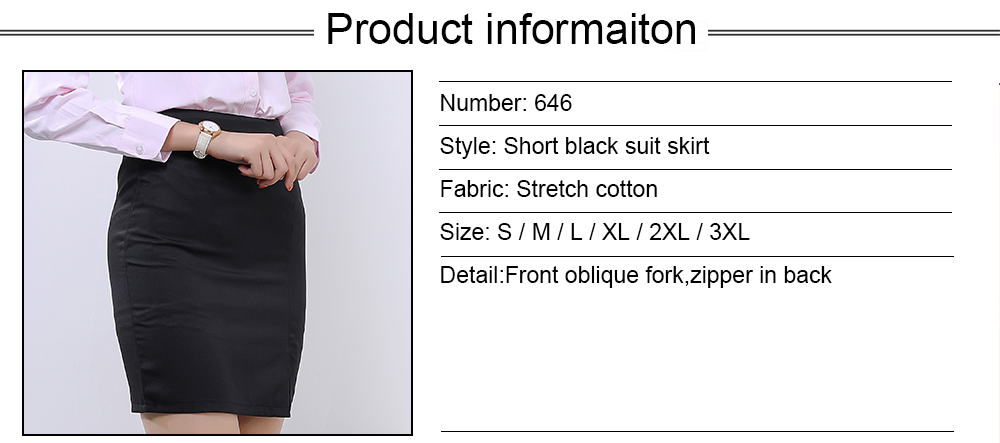 Front oblique fork formal skirts designs zipper in back latest skirt design pictures stetch cotton material lady skirt office