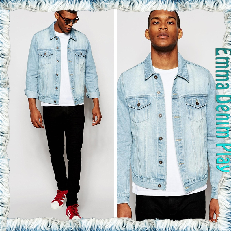 New Custom Design Mens Enzyme Wash Old Blue Straight Tube Denim Jackets