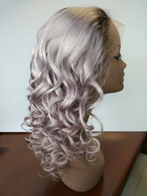 grey color full lace wig with adjustable glueless 20inch curly baby hair 150% density