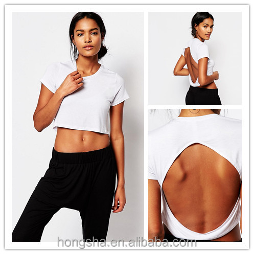 Ladies Sexy Cheerleading White Open Back Plain Crop Top