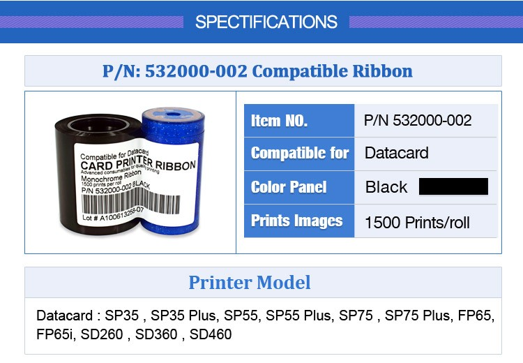 Datacard 532000-002 black comaptible monochrome ribbon 1500 prints