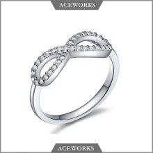PAVE MODERN INFINITY CZ STATEMENT RING 925 STERLING SILVER