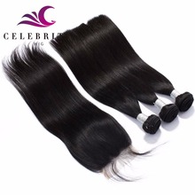 wholesale ombre blonde wefts cuticle aligned hair straight Brazilian hair 3 pieces bundles with 4*4 lace closure for black women